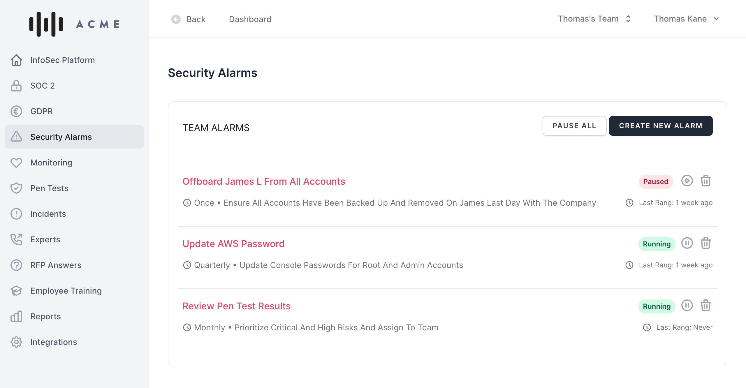 Security Alarms Screenshot